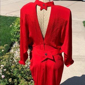 Vintage Red Open Back Dress